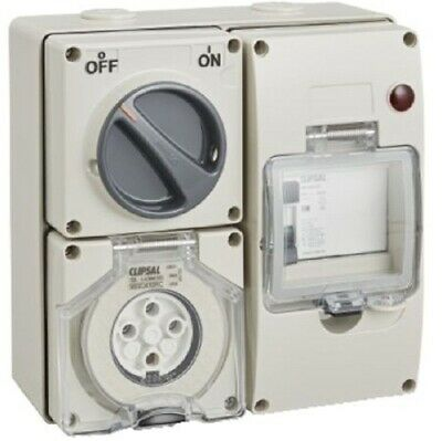 Clipsal RCD PROTECTED SURFACE SWITCHED SOCKET 500V 4-Pins Round GREY- 10A Or 20A