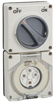 Clipsal 56-SERIES SWITCHED SOCKET 500V 4-Pins Less Enclosure GREY-10A,20A Or 32A