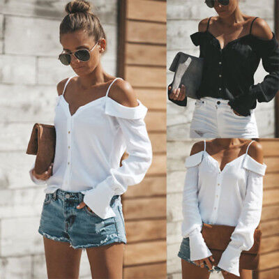 Women Off Shoulder V-Neck Long Sleeves Buttons Solid Tops Loose Blouse Shirt CA