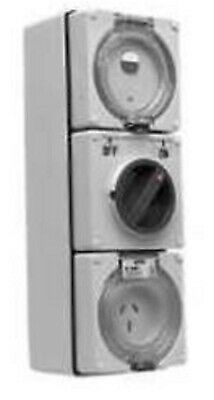 Clipsal RCD PROTECTED SURFACE SWITCHED SOCKET 15A 250V 3-Pin Flat 30mA GREY