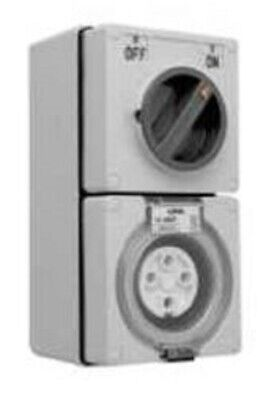 Clipsal 56-SERIES SWITCHED SOCKET 500V 4-Pin Round CHEMICAL GREY-10A, 20A Or 32A