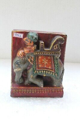 Antique Old Wooden Man Riding Elephant Figure Engraved Wall Hanging Block NH5032