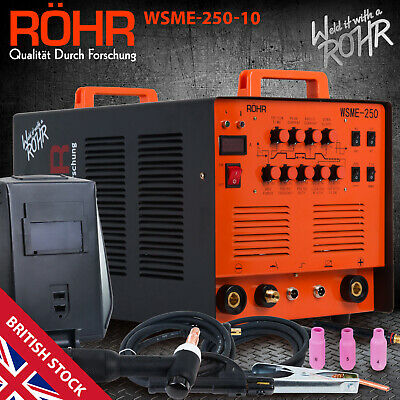 "ARC TIG Welder Inverter MMA Gas / Gasless 240V 250amp DC ""4 in 1"" Machine - ROHR"