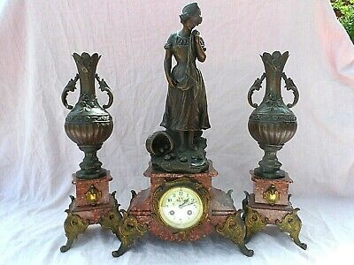 LATE 19th c SIGNED FRENCH BRONZE / SPELTER ROUGE MARBLE STRIKING CLOCK GARNITURE