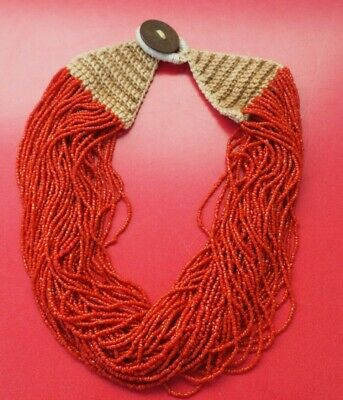 Good Indian Naga Nagaland Hill Tribe Coral Colour Necklace With Old 1920'S Coin!