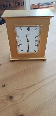 CARRIAGE CLOCK by IMHOF of SWIZERLAND 15 JEWELS working GILT BRONZE