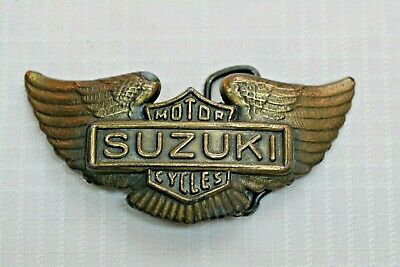 Suzuki Motor Cycles Brass Belt Buckle Eagle Wings Vintage Collectible Good Used