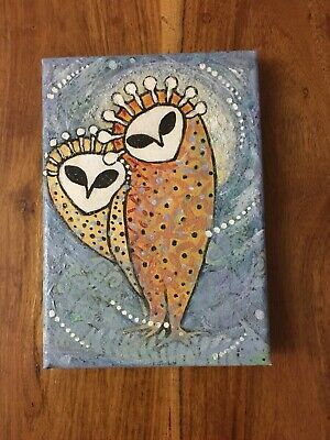 Art - Small Acrylic Painting - The Owls - By L. S. Summers