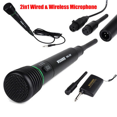 2in1 Wired & Wireless Handheld Microphone Receiver Undirectional System Portable