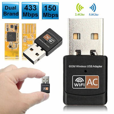 Dual Band 600Mbps 2.4G / 5G Hz Wireless Lan Card USB PC WiFi Adapter 802.11 Y7Q8