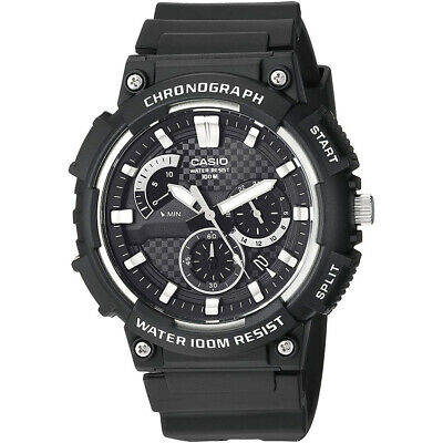 Casio Mens Sports Chrono Watch Black Resin Band Strap Water Resistance