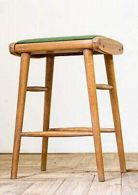 Antique Mid Century Moderne Modern Beech Stool With Green Leather Seat