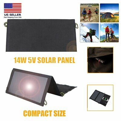 5V 14W Solar Panel Portable Battery Charger USB Ports Folding For Camping Hiking