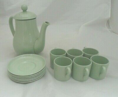 1950's Vintage Spode Flemish Green Coffee Pot Coloured Clay Cup Saucer x 6