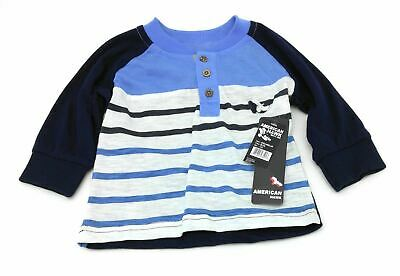 American Hawk Infant Boy's Shirt Casual Long Sleeve Blue & White Striped 12 Mths