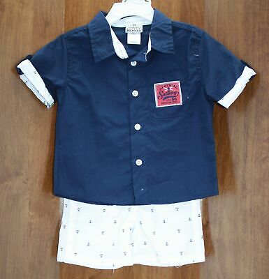 Little Rebels Infant Boy's Outfit 2 Piece Short Sleeve Anchor's Size 12 Months