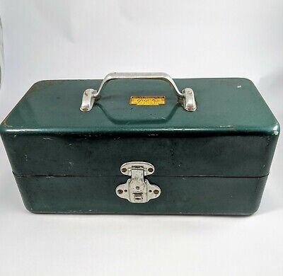 Vintage Walton Grip Loc Tackle Box Green Fishing Metal Tool Box