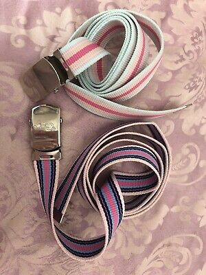 Girls Stripey Adjustable Belts Pink And Blue