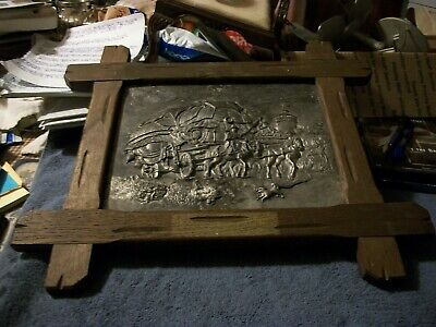 Mission Style Solid Oak Arts & Crafts Picture Frame w/Pewter Embossed Picture
