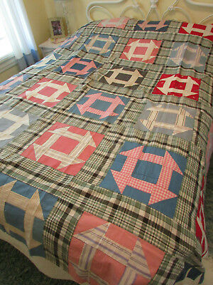 Antique / Vintage Handmade Pieced Quilt Top Hand Sewn 82'' x 82'' with History