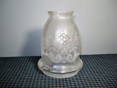 Antique Victorian Acid Etched Frosted Cut Glass Shade Globe  Nice!