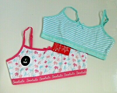 2 pack girls First trainer bra crop top bras Pink /blue Primark ages 8-11