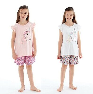 Girls Stunning Floral Sparkly Unicorn Print Short Pyjama/Loungewear Set Age 5-12