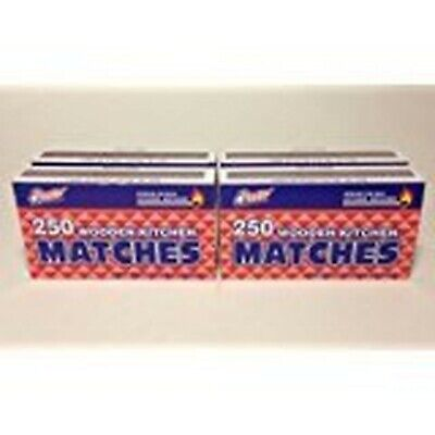 4 Boxes in LOT- Wooden Kitchen Matches 250 in Each Box Total 1000 Matches