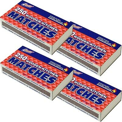 4 Packs Large Matches 250 Count Strike on Box Fire Starter 1000 Matches Lot
