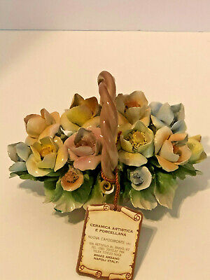 Nuova Capodimonte Flower Basket  centerpiece hand made porcelain floral