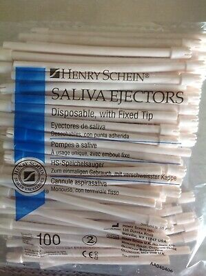 Henry Schein,Dental Disposable Saliva Ejectors with Fixed Tips 2 bags of 100pcs