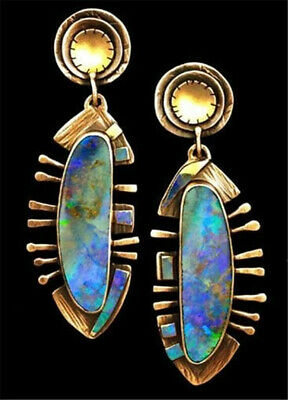 Vintage 18K Gold Plated Opal Ear Studs Dangle Drop Hoop Wedding Gift Earrings