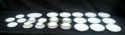 32 Pieces Ivory with Gold Trim Porcelain Dinnerware, Mix of T&V Limoges, Field