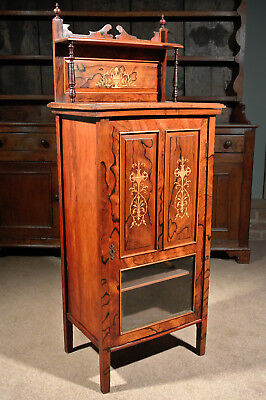 Lovely Art Nouveau Marquetry Inlaid Rosewood Cabinet c. 1880