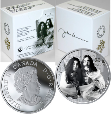 2019 Give Peace a Chance $20 1OZ Silver Proof Coin Canada, Yoko Ono, John Lennon