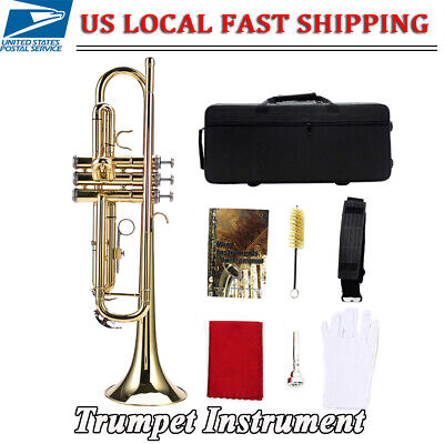 High quality Bb Flat Brass Trumpet Instrument Set Kit Accessory (Gold)