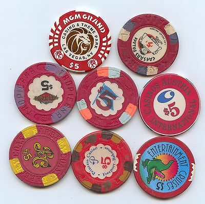 Eight Diff. $5 Casino Tokens (#7966) Carefully Check out the Photos.
