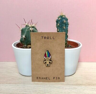 Troll Doll Skeleton 80s Toy Cute FUnny Iconic Weird Enamel Pin BAdge gift
