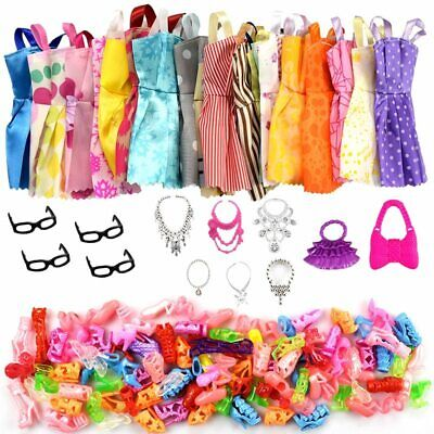 32 Item/Set Doll Accessories=10 Pcs Doll Clothes Dress+4 Glasses+6 Plastic Neckl