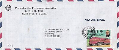 R 1017 Liberia Monrovia air Dec 1979 cover UK; solo Rowland Hill 27c stamp train