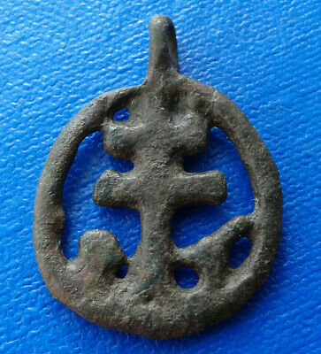 Ancient Bronze Cross Pendant  9th - 12th centuries. Very Rare !!!