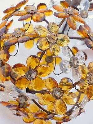 Vintage French Amber Flower Prisms Maison Bagues Style Antique Chandelier Lustre