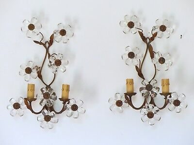 RARE Vintage French Clear Flower Prisms Maison Bagues Style Antique Pair sconces