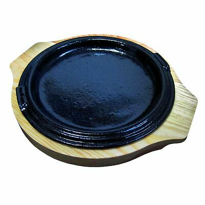 Small Round Cast Iron Steak Plate With Heat Proof Wood Tray Hot Metal Plate Meal