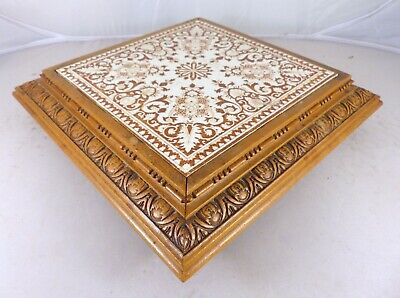 Gorgeous Antique French Longwy Tile Trivet Wood Carved Rouen Patern Kitchen 19TH