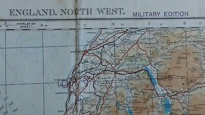 Vintage 1932 Military Folding Map Of  England North West Area.