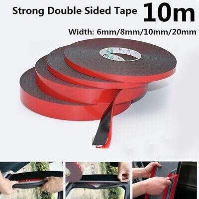 10M Black Super Strong Double-Sided Foam Tape Permanent Self-Adhesive Trim New