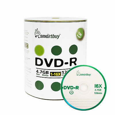 100 Smartbuy 16X DVD-R 4.7GB Logo Top Non Printable Blank Recording Disc