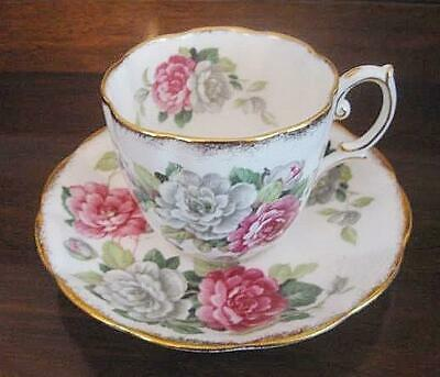 Royal Albert Evening Rhapsody Fluted Cup & Saucer Brushed Gold Pink White Floral