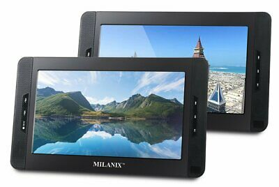 """10"""" Dual Screen Portable Dual DVD Player Ultra Thin with Built in 5 Hour Battery"""